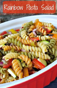 This Rainbow Pasta Salad is a great make a ahead dish and it certainly falls in the top choices of our foods that travel well.