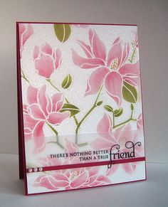 """By Alice W. (Aliceh83 at Flickr). Stamp Hero Arts """"Large Blossom"""" negative stamp in VersaMark on white cardstock. Emboss with clear powder. Use Q-tips & Distress inks to color the flowers. Add sentiment stamped on vellum strip, ribbon, & pearls. Pop up on dark pink card base."""