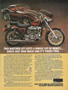 1979 Harley-Davidson Sportster and 1979 Corvette in Candi Root Beer over Black Pearl Matched Set Motorcycle Posters, Motorcycle Art, Motorcycle Types, Classic Motorcycle, Cool Motorcycles, Vintage Motorcycles, American Motorcycles, Amf Harley, Hd Vintage