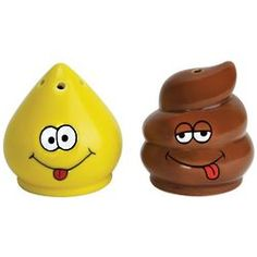 Big Mouth Toys Tinkle and Turd Salt and Pepper Shaker set. Some people I know, their cooking makes you do this immediately. Novelty Items, Novelty Gifts, Salt N Peppa, Poo, Salt And Pepper Set, Glazed Ceramic, Salt Pepper Shakers, Gag Gifts, Spice Things Up