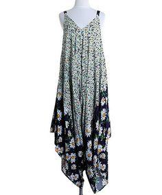 Navy Sunflower Handkerchief Dress by Kokette #zulily #zulilyfinds