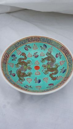 Vintage Chinese Rice / Soup Bowl With Raised Dragon Design in Bright Colors & VINTAGE ANTIQUE CHINESE CHINA PLATE PORCELAIN ENGRAVED ENAMEL ...