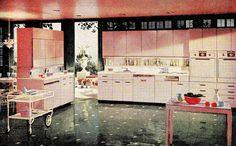 Gorgeously girly pink vintage kitchen decor heaven! #vintage #kitchen #home #decor #retro #1950s #fifties #pink