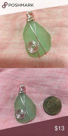 Sea glass pendant Wire wrapped sea glass pendant Jewelry Necklaces