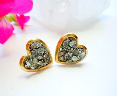 Pyrite Heart Stud Earrings - Raw Gemstone - Valentine's - Fashion Jewelry from NaturalGlam on Etsy. Saved to Gifts. Raw Gemstones, Minerals And Gemstones, Cute Rings, Jewelry Accessories, Unique Jewelry, Stud Earrings, Heart Earrings, Jewelery, Fashion Jewelry