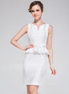 Sheath/Column Scoop Neck Short/Mini Taffeta Cocktail Dress With Bow(s) (017042388) - JJsHouse