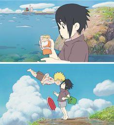 Naruto/Ponyo crossover with Sasuke and Naruto. i loved ponyo, it was such a good anime, and naruto is my favorite anime, heh Naruto And Sasuke, Naruto Fan Art, Naruto Cute, Naruto Shippuden Sasuke, Kakashi, Sasunaru, Narusasu, Ponyo Anime, Anime Manga