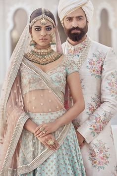 Photo of Sabyasachi mint blue and rose gold bridal lehenga and sherwani - Sabya. You can find Sherwani a. Indian Bridal Fashion, Indian Bridal Wear, Indian Wedding Outfits, Bridal Outfits, Indian Outfits, Blue Bridal, Floral Outfits, Pakistani Bridal, Bridal Dresses