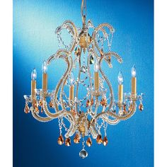 Aurora Olde Gold Six-Light Chandelier with Amber Prism Crystal Accents