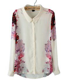 White Lapel Long Sleeve Floral Chiffon Blouse - Sheinside.com