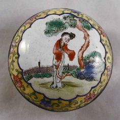 Antique Chinese Canton Enamel on Copper Round Trinket Box Young Woman in Garden Scene