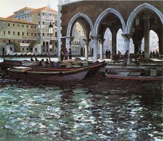 """""""The Fishmarket on the Grand Canal"""" by Jeremy Barlow, living British artist."""