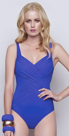 50b5f2ebd8bb6 Profile #2015 Lattice Full Figured Surplice #Swimsuit in Iris #Blue  15LA274-428