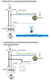 Esquemas eléctricos: Conexión de un sensor de movimiento con interruptor... albacete