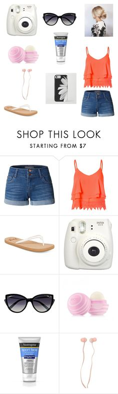 """""""A summer day"""" by annelieseoh ❤ liked on Polyvore featuring LE3NO, Glamorous, Roxy, Fujifilm, La Perla, Eos, Neutrogena and Forever 21"""