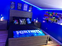 Fortnite bedroom for boys. Boys Bedroom Paint, Gamer Bedroom, Bedroom Setup, Boys Bedroom Decor, Teen Room Decor, Teen Bedroom, Kids Bedroom Boys, Kids Room, Teen Game Rooms