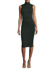 Sleeveless Cashmere Turtleneck Dress, Women's, Size: X-SMALL, Kale - Autumn Cashmere
