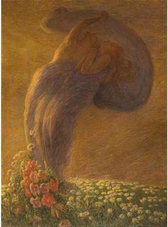 The dream, 1912 by Gaetano Previati Auguste Rodin, Landscape Pictures, Landscape Paintings, Art Paintings, Maurice Denis, Most Famous Artists, Salon Art, Italian Painters, Klimt