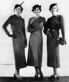 This is a look from 1934 . The dresses are a line skirts at lower calf length and are at a natural waist position. 1930s Fashion, Retro Fashion, Vintage Fashion, Fashion Women, Fashion Trends, Moda Vintage, Vintage Mode, Vintage Outfits, Vintage Dresses