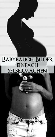 Tolle Ideen für um in der Schwangerschaft den Babybauch selber in Szene zu setzen. Anleitung zum selber Fotografieren von eurem Babybauch. Schwarz-weiß Fotografie oder in bunt.