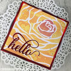 A hello card created with the double stencilling technique. Used the mega rose stencil from Altenew and the mini tiny circles from the Crafters Workshop.#doublestencillingtechnique#stencillingtechniques#altenew#cardmakingtechniques#cardmakingcircle Cloud Stencil, Rose Stencil, Stencilling Techniques, Make Your Own, Make It Yourself, Mandala Stencils, Distress Oxide Ink, Mft Stamps, Plastic Sheets