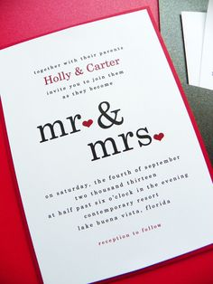 Wedding Invitation - Mr & Mrs Pocket Card Wedding Invitation Suite - Wedding Invitations - Wedding Invites. $3.75, via Etsy.