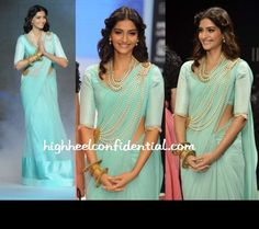 That's one way to wear pearls! I love the color of the Sari and the old-school vibe to the whole outfit!