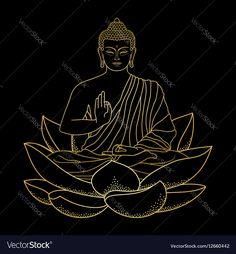 Gold Buddha sitting on Lotus vector image on VectorStock Buddha Drawing, Buddha Painting, Outline Drawings, Art Drawings, Buddha Tattoos, Maori Tattoos, Buddha Lotus, Buddha Wall Art, Little Buddha