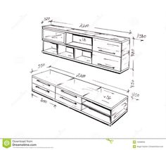 Modern Interior Design Freehand Drawing Stock Photo