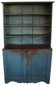 century Pennslyvania open top Stepback Cupboard, early old blue paint over the original gray, open shelvies over two panel doors, circa 1840 Primitive Bathrooms, Primitive Homes, Primitive Kitchen, Country Primitive, Primitive Antiques, Primitive Home Decorating, Primitive Bedroom, Decorating Kitchen, Primitive Furniture