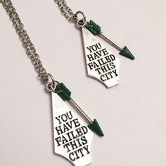 You Have Failed This City - Green Arrow/Oliver Queen - Arrow CW Inspired Necklace - Arrow Jewelry from LoveForAchilles on Etsy. Fandom Jewelry, Geek Jewelry, Jewellery, Supergirl Dc, Supergirl And Flash, Birthday Girl Meme, Funny Birthday, Birthday Gifts, Happy Birthday