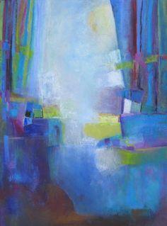 """Cascade into Blue 52""""x39"""" Oil on canvas Peg Bachenheimer"""