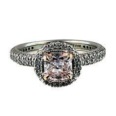 .80ct Cushion Natural Pink in Platinum Halo