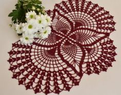 Beautiful New Oval Maroon Cotton Lace Hand-crocheted Tablecloth Crochet Tablecloth, Crochet Doilies, Hand Crochet, Cotton Gifts, Elegant Centerpieces, Victorian Dolls, Cotton Lace, White Cotton, Diy And Crafts