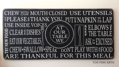 Table Manners sign on Etsy