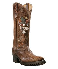 Distressed Leather Skull Boot by Johnny Ringo Boots