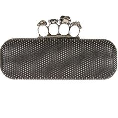 Alexander McQueen black knuckle skull and leather box clutch ($1,760) ❤ liked on Polyvore