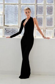 Formal Maxi Dress / One Shoulder Dress / Black Dress / Prom Dress / Cocktail Dress / Unique Designer Dress / marcellamoda - MD141