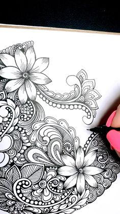 Flower Art Drawing, Doodle Art Drawing, Zentangle Drawings, Mandala Drawing, Zentangle Patterns, Zentangles, Zentangle Art Ideas, Flower Pattern Drawing, Zen Doodle Patterns