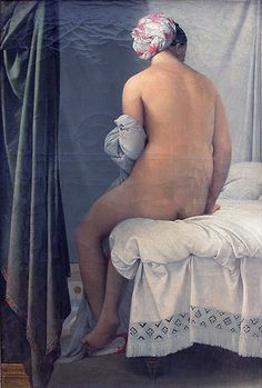 This image was a fixture in my Aunt Merle's bathroom -- for years and years. I had to find it again...the real one is in the Louvre, and we didn't even know -- we were there in 2007.  https://en.wikipedia.org/wiki/File:Ingres_valpincon.jpg