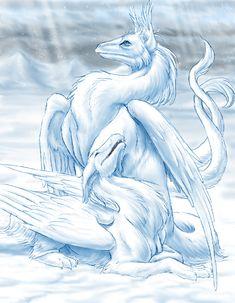 winter dragons by hibbary.deviantart.com on @deviantART