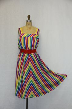 X Large Vintage Dress  Primary Colors RAINBOW by SIZEisJUSTaNUMBER