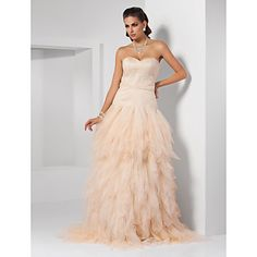 Ball Gown Sweetheart Sweep/ Brush Train Tulle Evening Dress inspired by Kristen Wiig at Oscar – USD $ 249.99