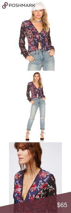 """Free People Black Combo Floral Top. The Way The World Turns.  Lightweight, semi-sheer top featuring a beautifully femme mixed floral print and subtle braided accents throughout. Front button closures with an adjustable tie detail at the waist. Cute center vent. V-neckline. 100% Rayon Machine Wash Cold Measurements for size Small:  Bust: 37"""" = 93.98 cm Waist: 31"""" = 78.74 cm Length: 22.5"""" = 57.15 cm Sleeve Length: 25"""" = 63.5 cm.  No trades. Reasonable offers welcome. Free People Tops Blouses"""