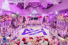 real wedding photo black wedding luxury at w hotel fort lauderdale planned by tica rose events ballroom reception purple and blue decor