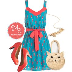 This dress is so fun! | Look at Mew! Dress by modcloth on Polyvore featuring polyvore fashion style cats outfits modcloth modstylist