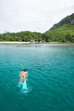 Snorkelling at St Anne Marine Reserve, Mahe , Seychelles.