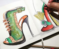New #bebashoes sketches . . .#sketchoftheday #sketchbook #fashionshoe #shoeart…