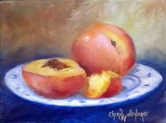 Original Oil Painting Still Life Peach Snack on by ChatterBoxArt