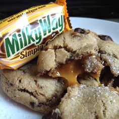 Milky Way Salted Caramel Chocolate Chip Cookies. Yum!